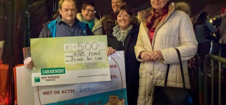 Vlam schenkt 500 € aan Zemst for Life